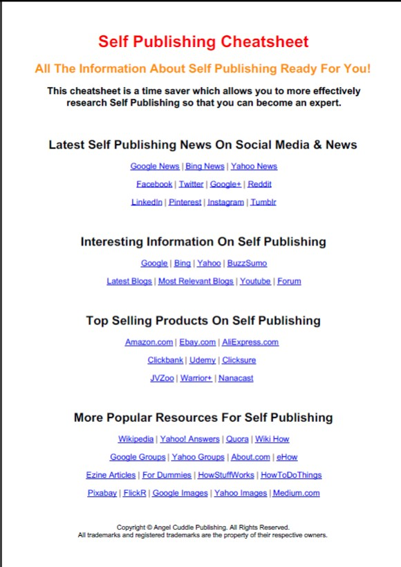 Self-Publishing Cheat Sheet – Angel Cuddle Publishing